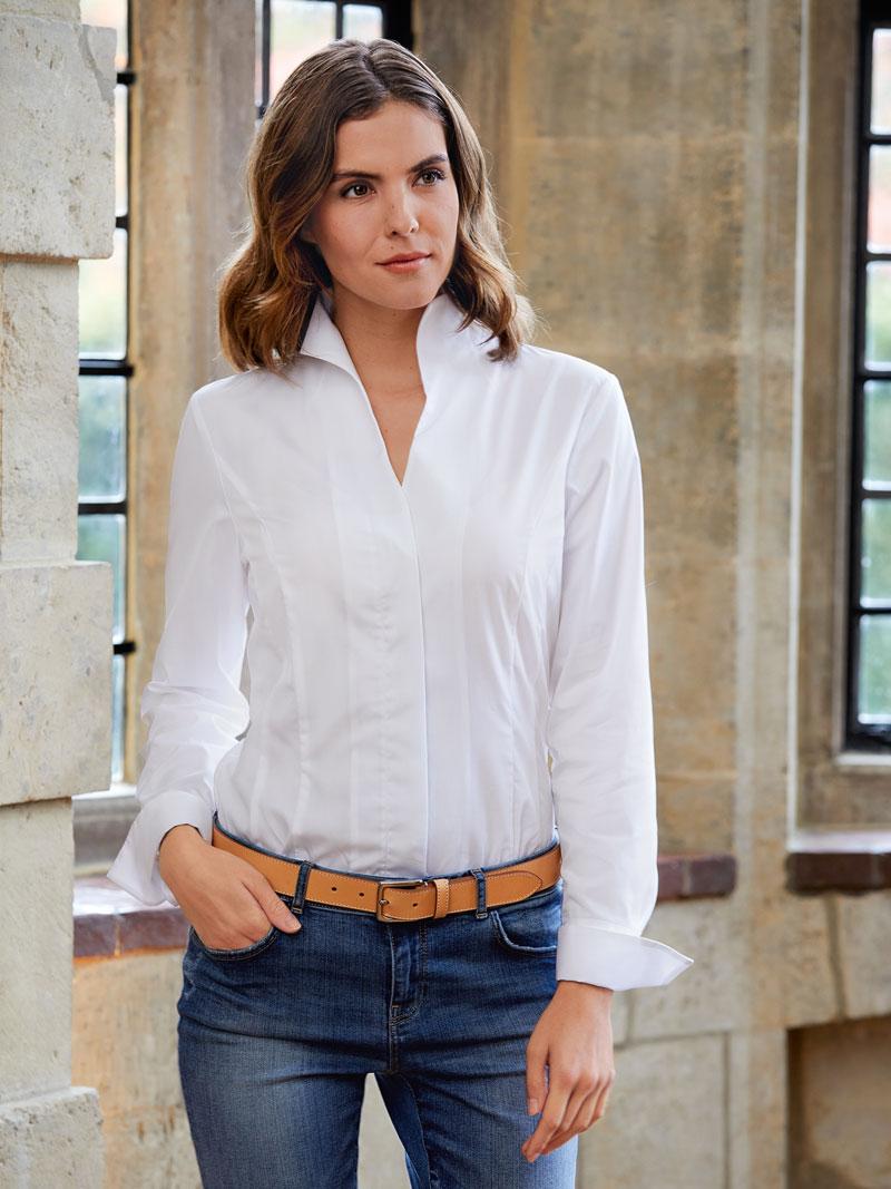 Bluse mit Kelchkragen in Weiß - Blusen Damen