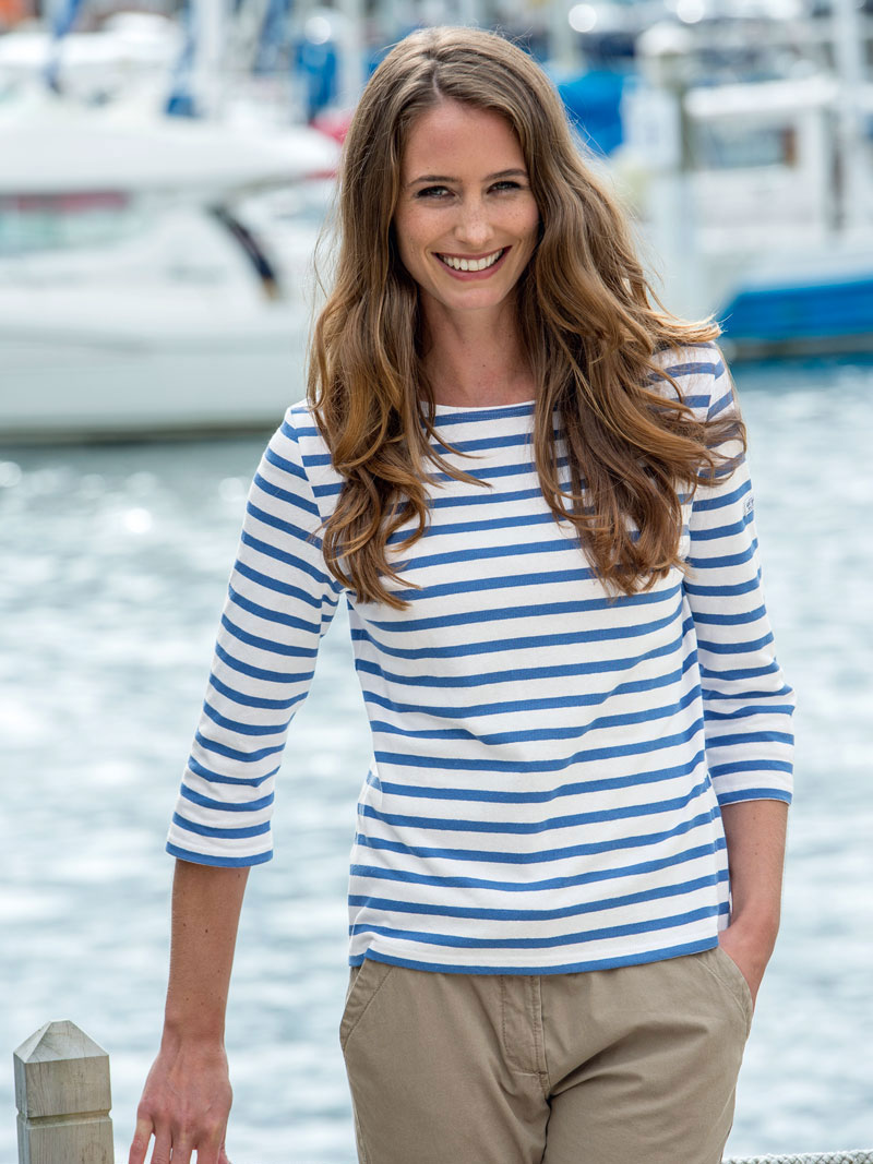 Bretagne shirt 39 st james 39 mit hellbauen streifen for Mode aus england