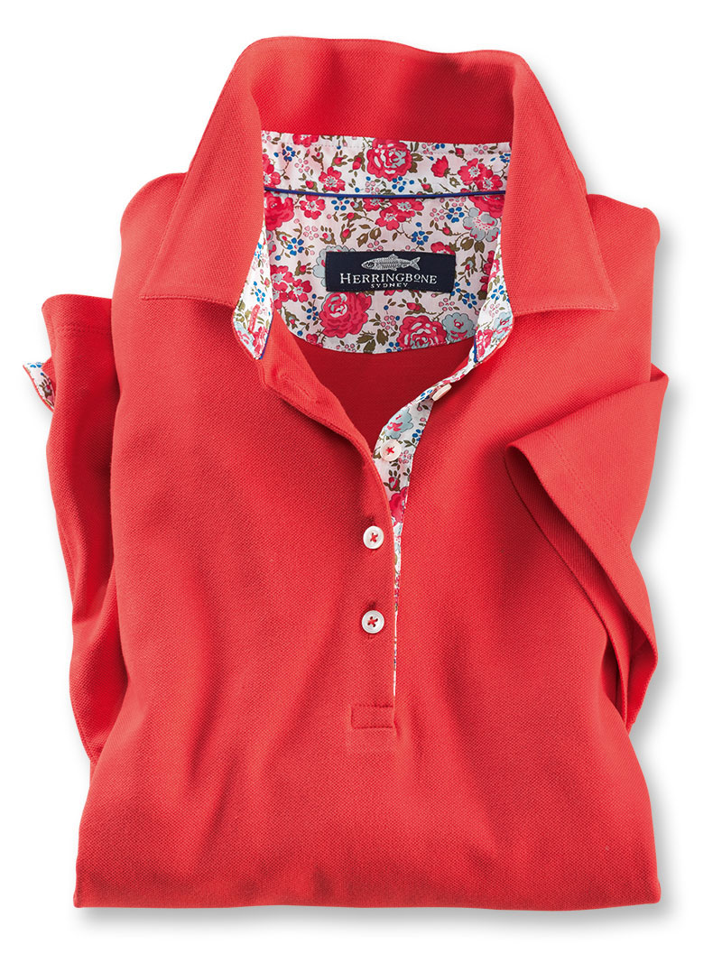 Liberty-Poloshirt 'Felicite' in Coral Red