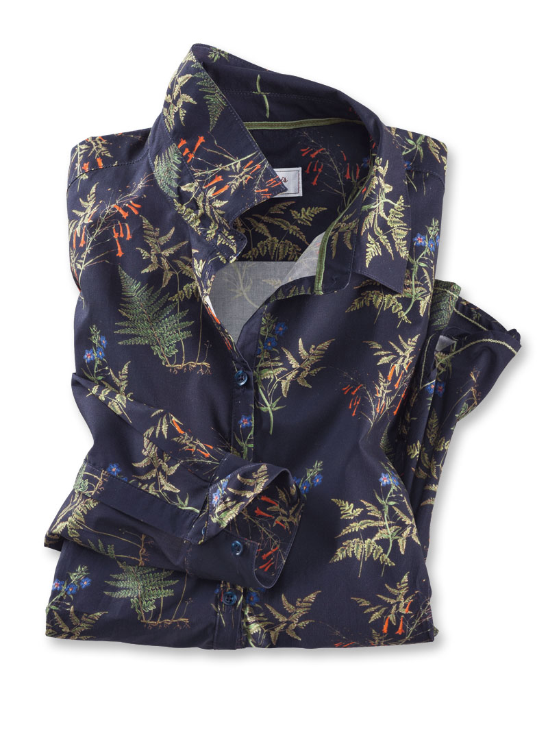 Mayfair-Bluse 'Ferns and Flowers' in Navy Bild 2