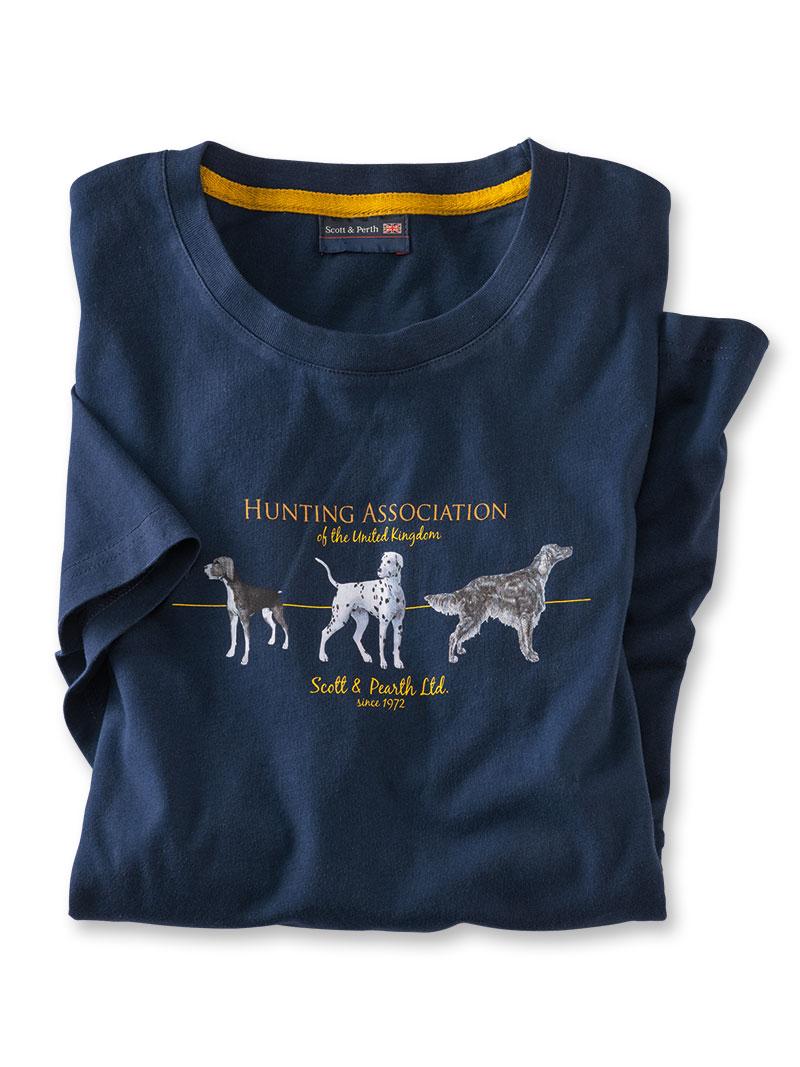 sommer t shirt 39 hunting association 39 in navy polohemden. Black Bedroom Furniture Sets. Home Design Ideas