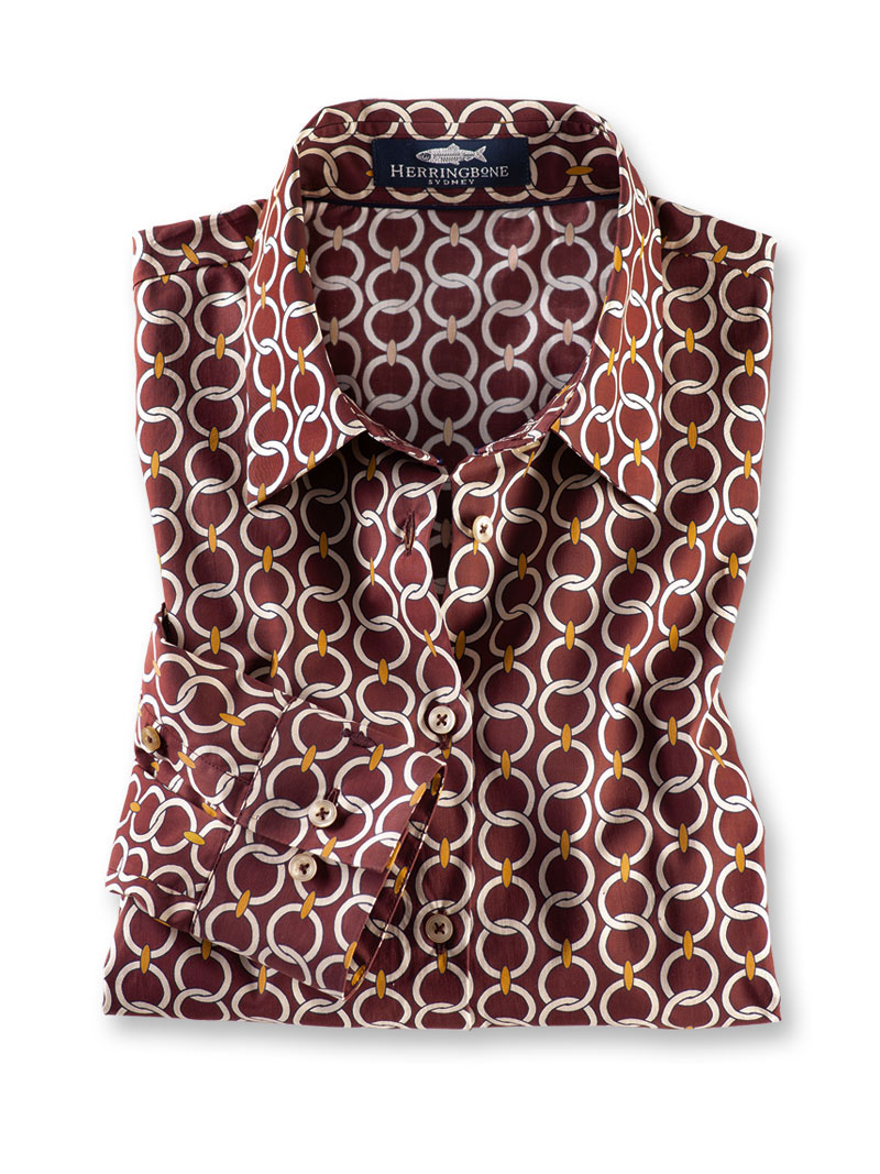 Printbluse 'Modern Ornaments' in Bordeaux von Herringbone