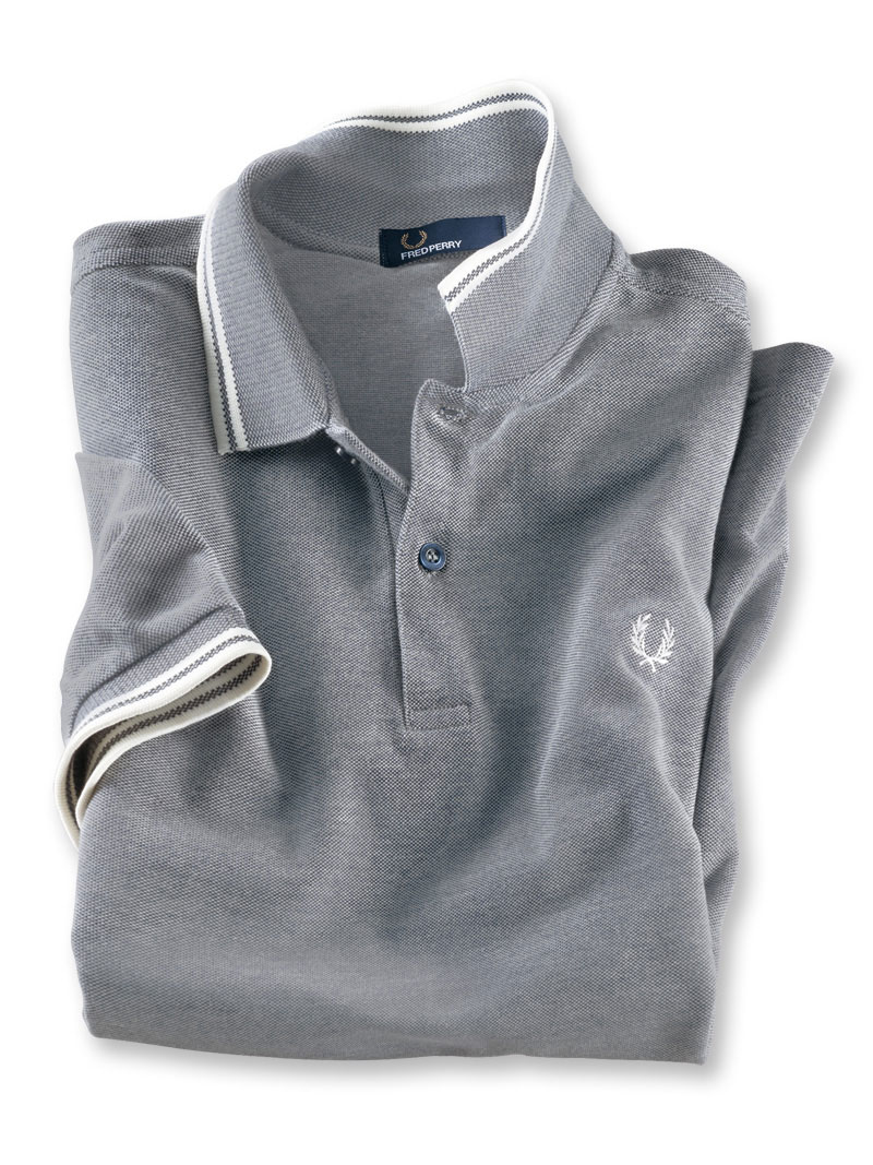 Fred-Perry-Polo in Grau Meliert