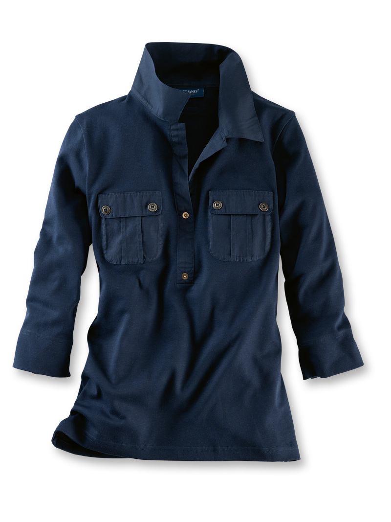 Sommershirt im Blusenstil in Navy von Saint James