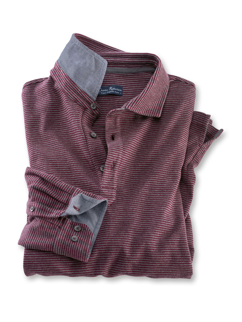 weltweite Auswahl an schnell verkaufend Laufschuhe Robertson-Poloshirt in Rot und Grau gestreift