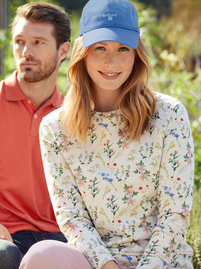Barbour Sweatshirt mit Floral Print in Cloud Marl Bild 2