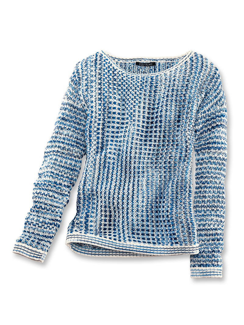 uk availability 28b8b 6cbdb Baumwoll-Pullover 'Skye' in Blau und Ecru