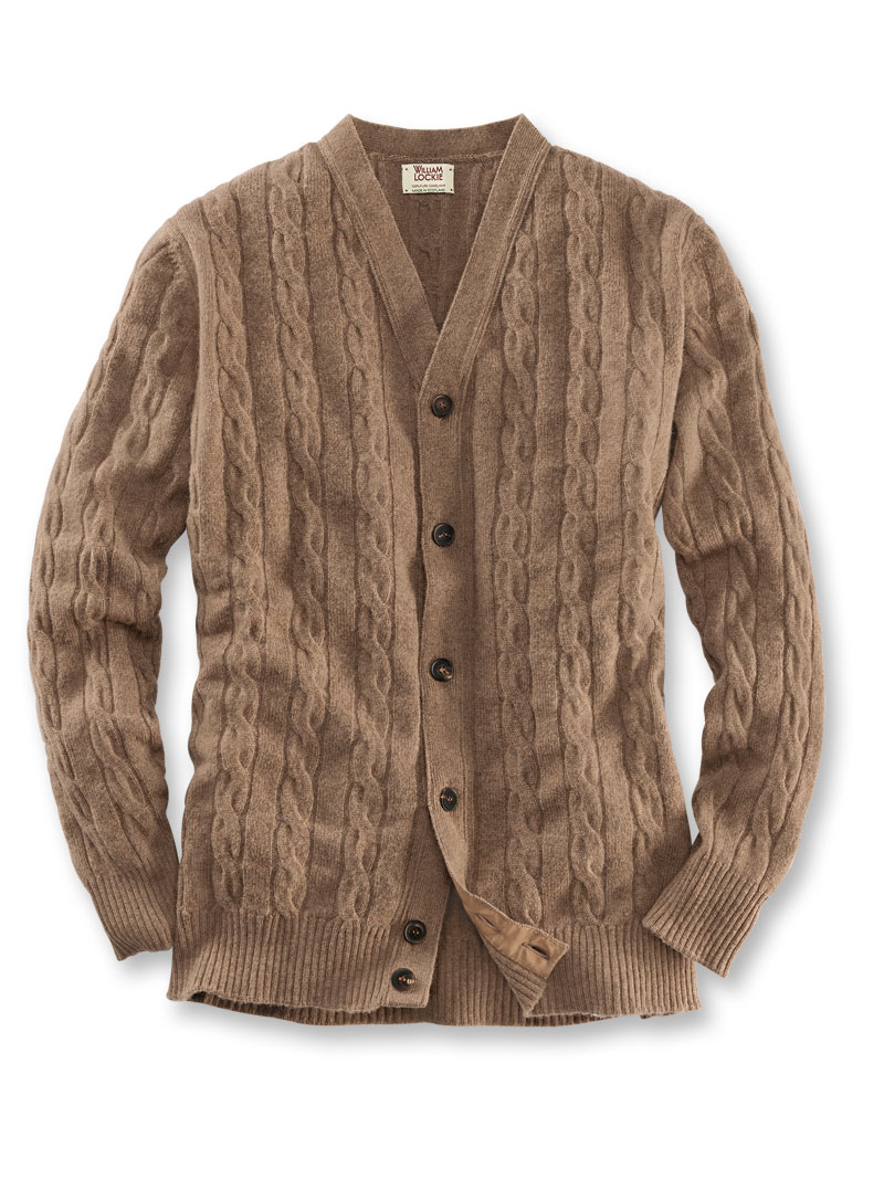 Kamelhaar-Cardigan in Braun von William Lockie