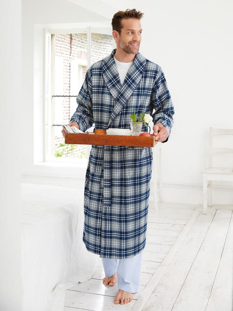 englischer morgenmantel im 39 earl grey check 39 bestellen the british shop herrenmode aus. Black Bedroom Furniture Sets. Home Design Ideas