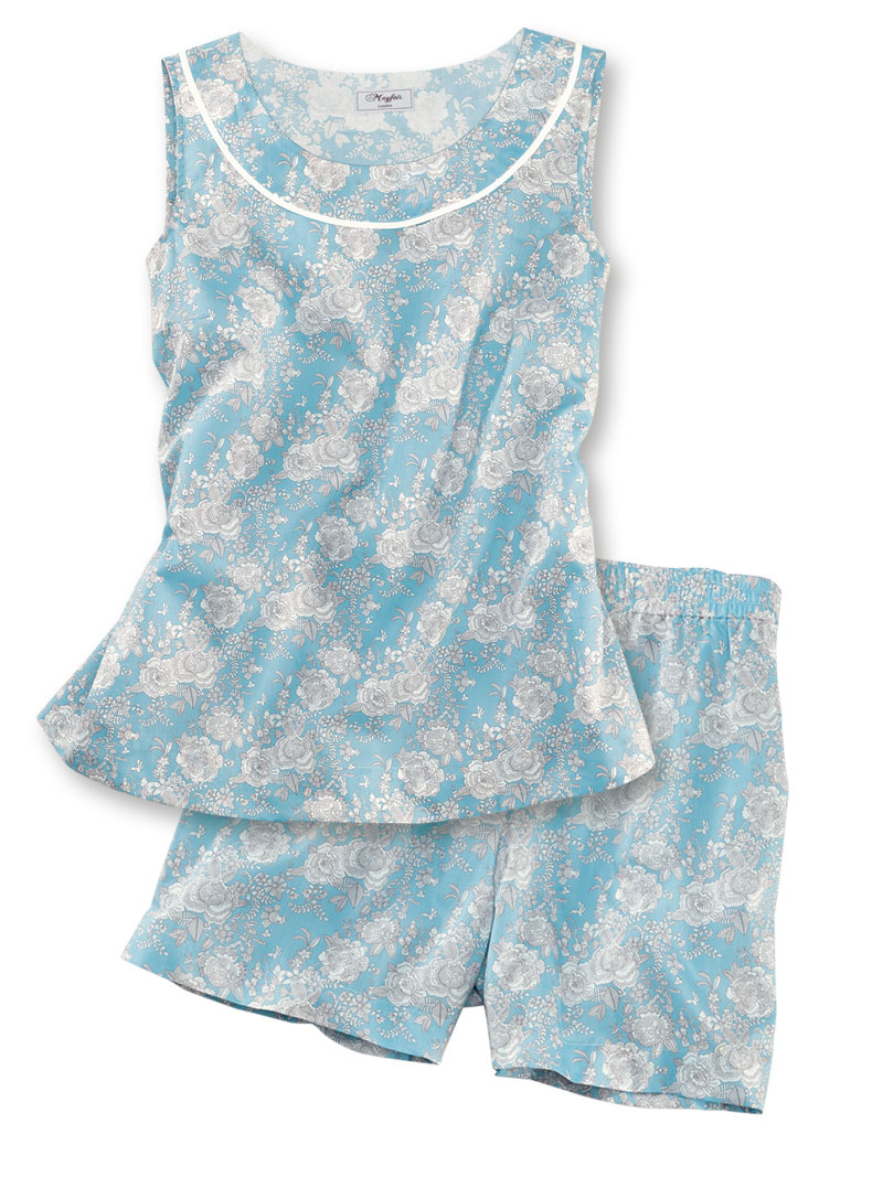 Shorty in Liberty-Dessin in Pastellblau