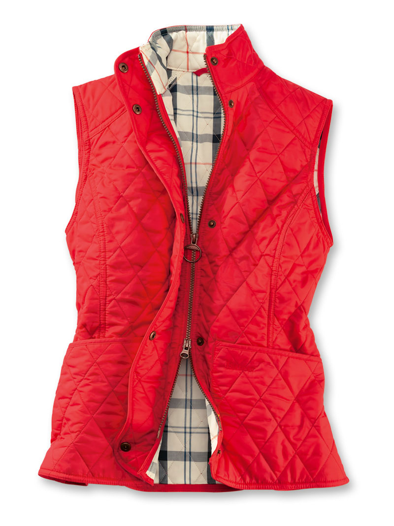 Barbour-Steppweste in Rot mit Tartanfutter