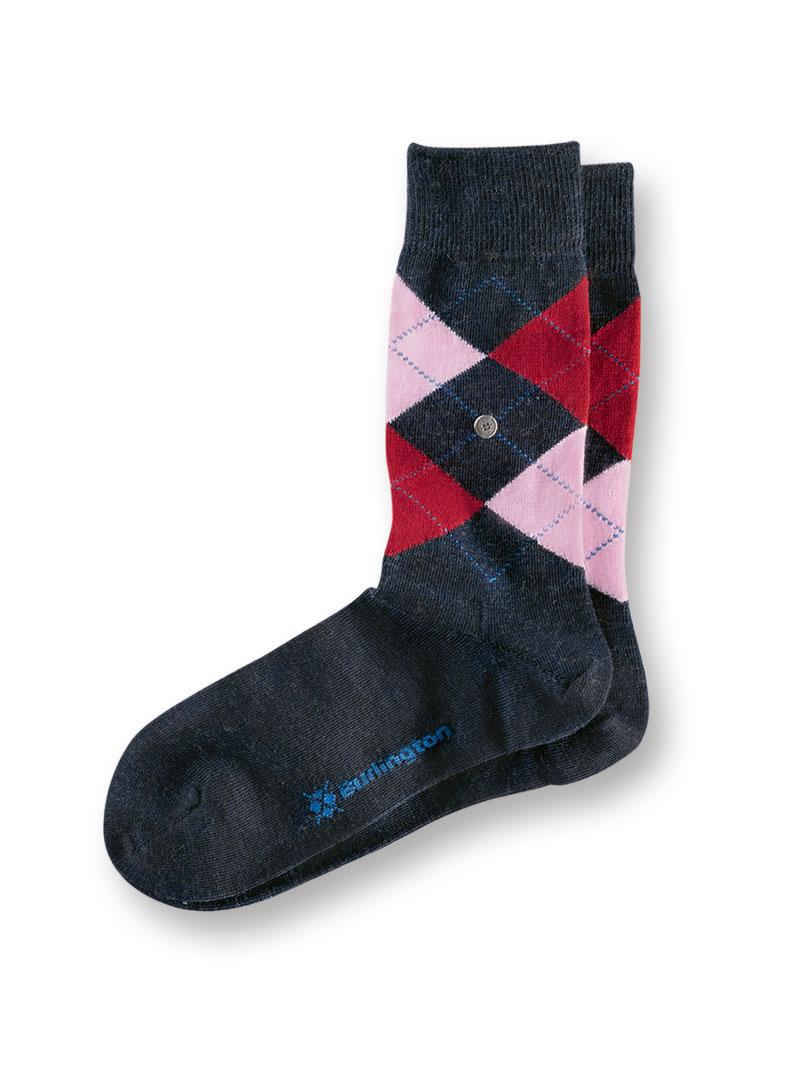 Burlington Socken in Navy, Bordeaux und Rosa