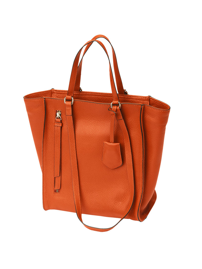 Orange Damenhenkeltasche in Leder