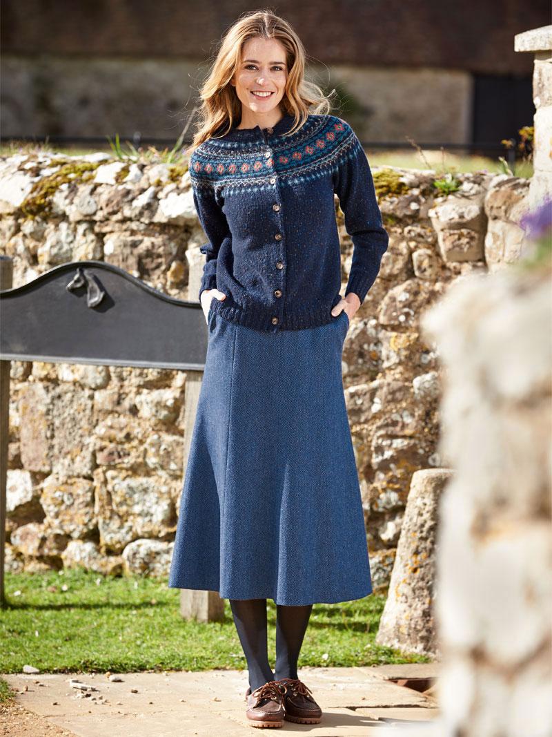 Brendellas original irischer tweed rock in royalblau for Mode aus england