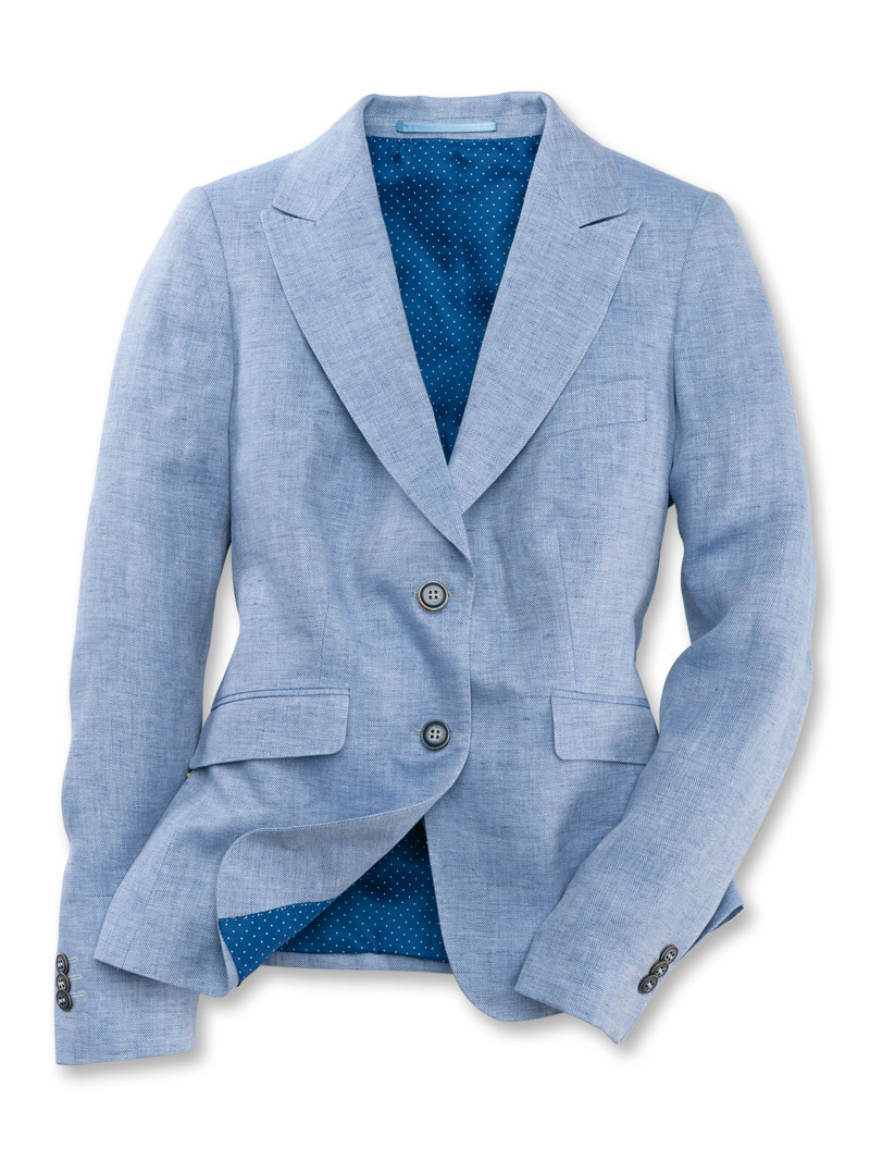 Leinenblazer in Irisblau