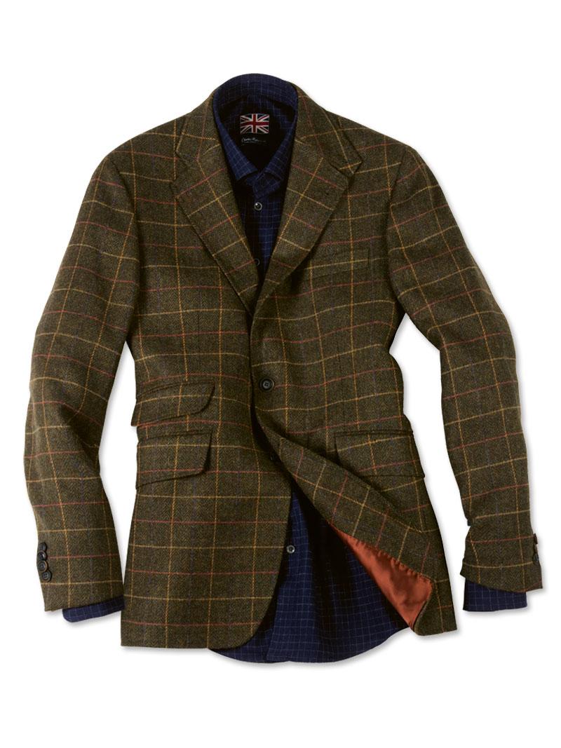 Tweed Sakko im 'District Check' in Oliv von Kinbury