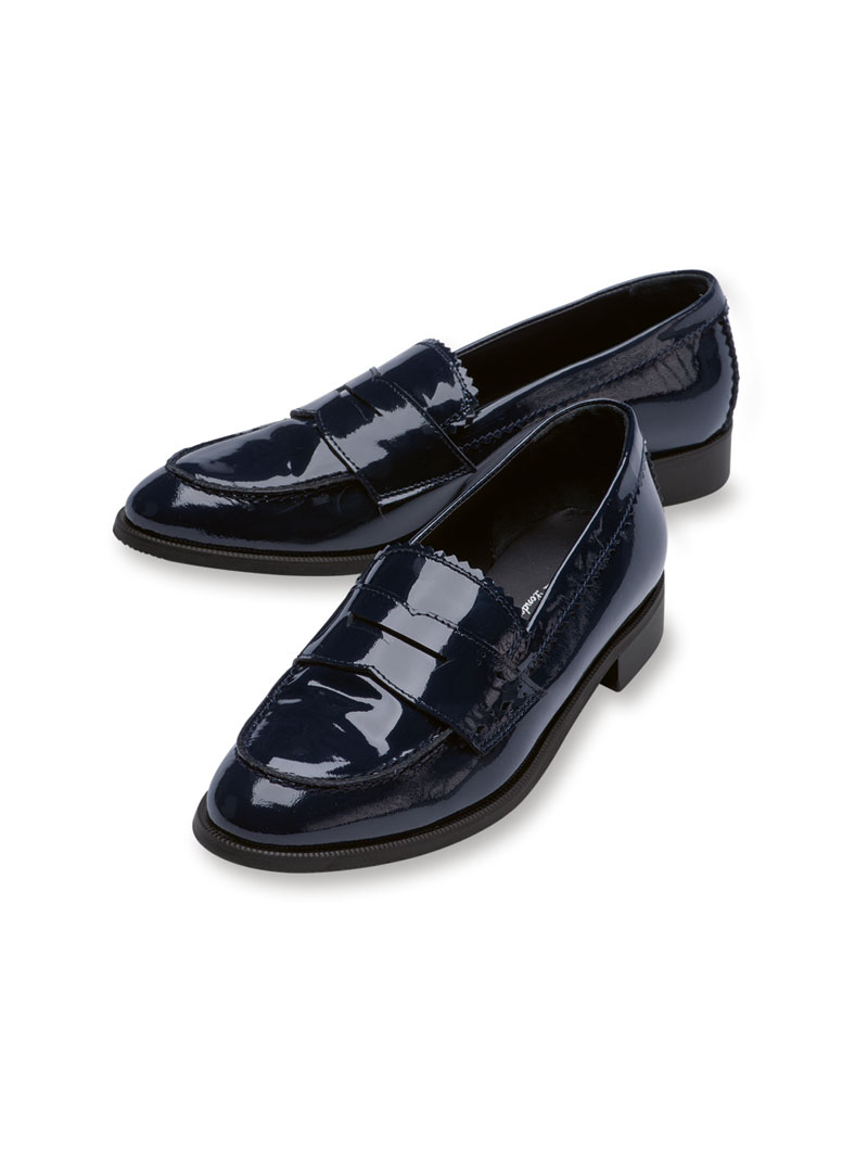 Lack-Collegeschuhe in Navy