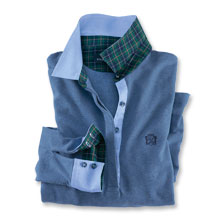 Oxford'-Club-Polo in Denim Blue von Herringbone