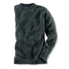 Kerniger Tweedpullover in Petrolgrün