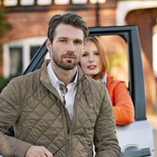 Barbour-Steppblouson 'Land Rover' in Oliv