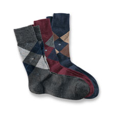 Argyle-Socken 'Edinburgh' in Grau-Navy von Burlington