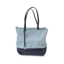 Zweifarbiger Kensington-Ledershopper in Ice Blue-Navy