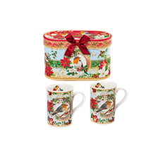Becher-Set 'Christmas Robins'