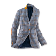 Blauer Damenblazer im Country-Check