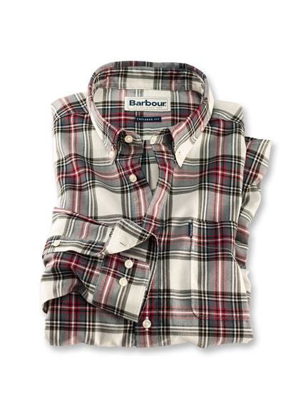Barbour-Hemd 'Highland Check' in Ecru-Rot-Oliv Kariert