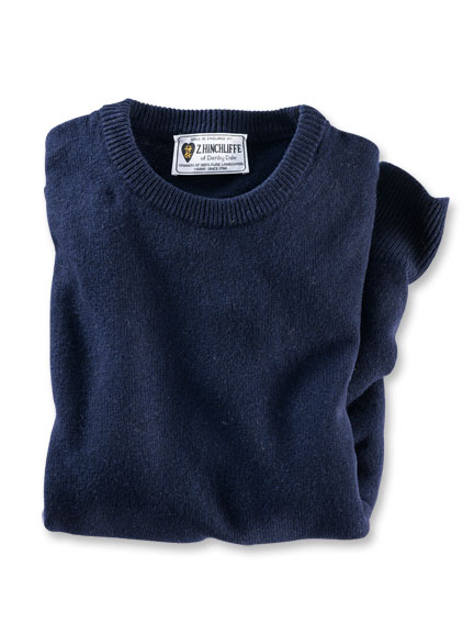 Lambswool-Pullover aus Hinchliffe-Wolle in Navy