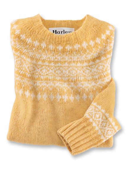 Fair Isle-Pullover aus Shetland-Wolle in Honiggelb