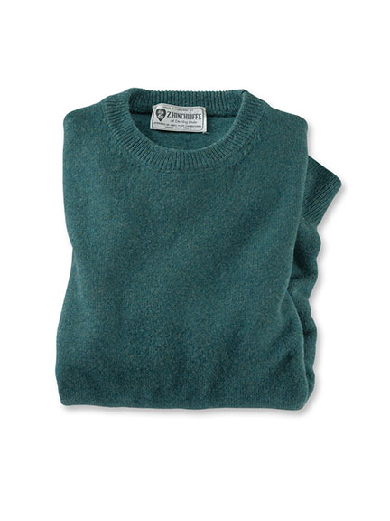 Lambswool-Pullover aus Hinchliffe-Wolle in Petrol