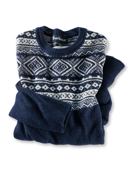 Barbours 'Fair Isle'-Pullover 'Cove' in Navy und Natur