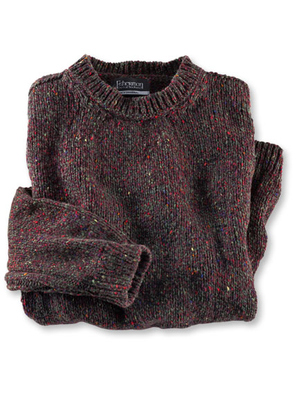 Fisherman-Pullover aus Donegal-Garn in Heather und Oliv