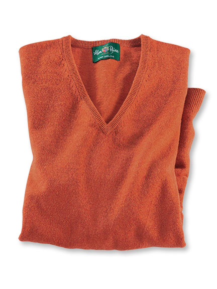 Lambswool-Pullover 'Albury' in Burnt Orange von Alan Paine
