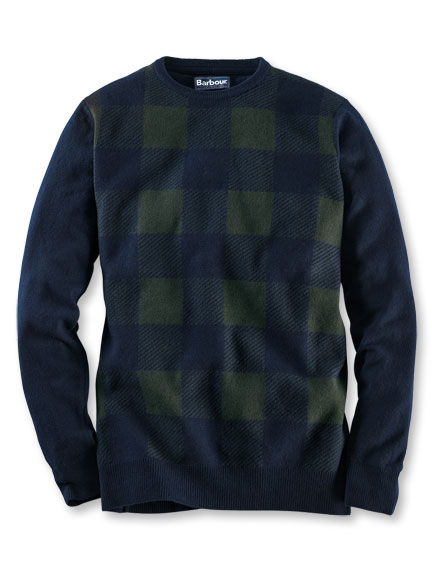 Lambswool-Pullover im 'Black Watch Check' von Barbour