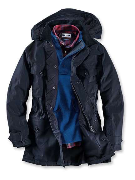 Kerniger Barbour-Parka in Navy