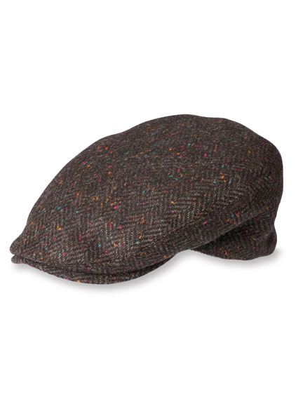 Kappe aus irischem 'Donegal'-Tweed in Braun
