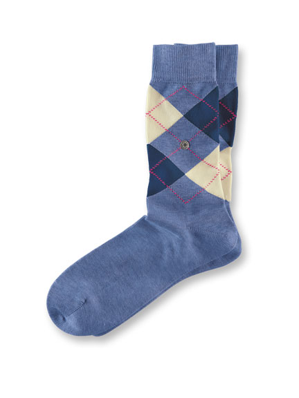 Argyle-Socken 'Covent Garden' in Blau, Ecru und Navy
