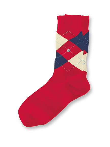 Argyle-Socken 'Covent Garden' in Rot, Navy und Ecru
