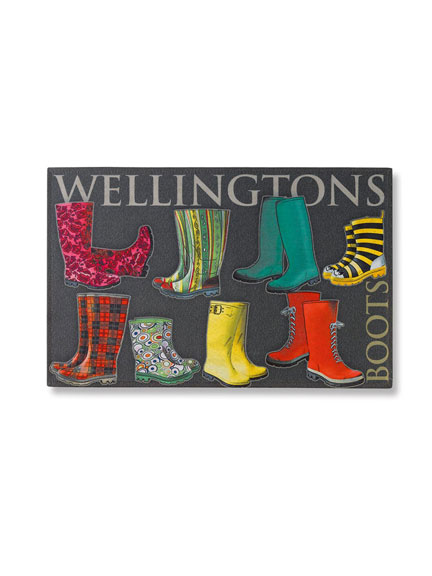 Die farbenfrohe Fu�matte 'Wellingtons - Boots'